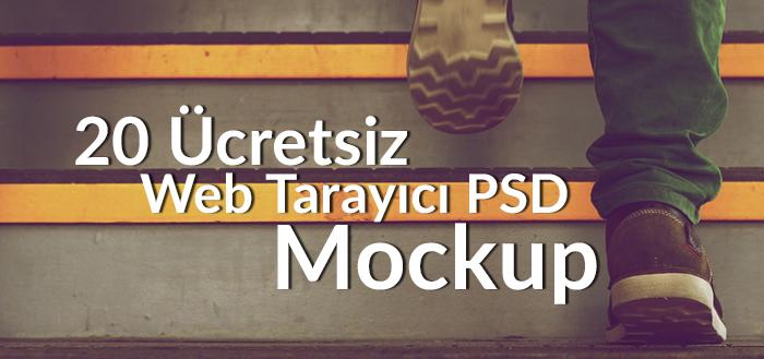20 Ücretsiz Web Tarayıcı PSD Mockup